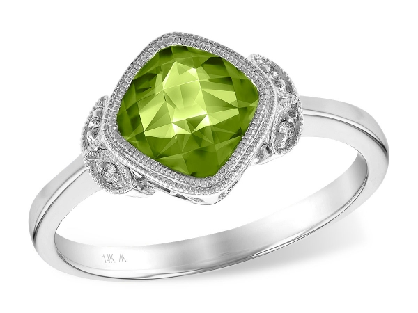 14KT Gold Ladies Diamond Ring - LDS RG 1.51 PERIDOT 1.53 TGW