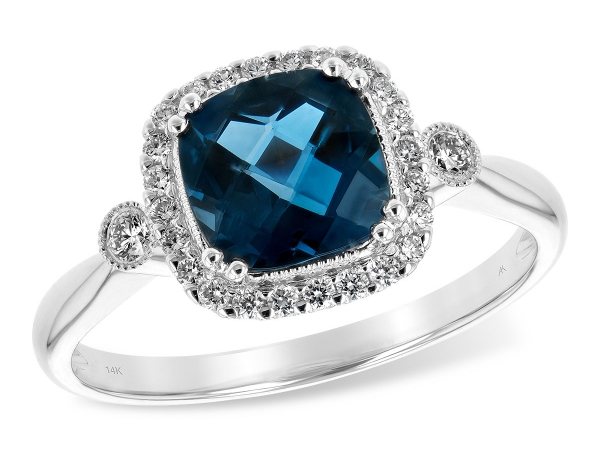 14KT Gold Ladies Diamond Ring - LDS RG 1.62 LONDON BLUE TOPAZ 1.78 TGW