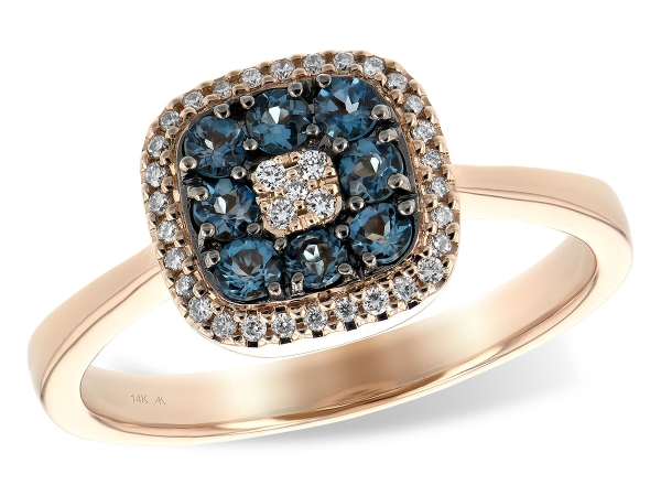 14KT Gold Ladies Diamond Ring - LDS RG .29 LONDON BLUE TOPAZ .39 TGW