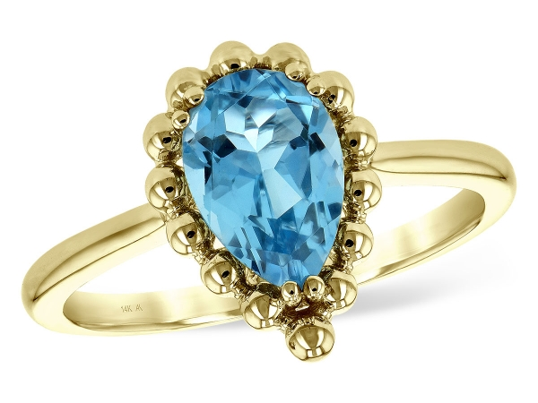 14KT Gold Ladies Diamond Ring - LDS RG BLUE TOPAZ 1.55 CT