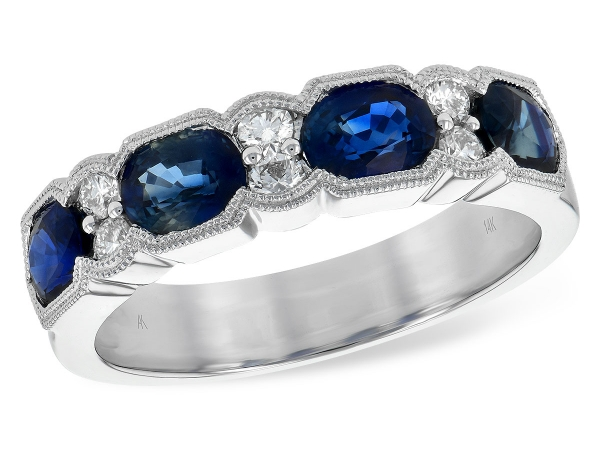 14KT Gold Ladies Wedding Ring - LDS WED RG 1.72 TW BLUE SAPPHIRE 1.90 TGW