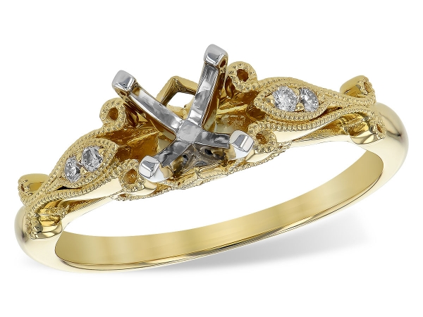 14KT Gold Semi-Mount Engagement Ring - L7675 SEMI ALL Y/G .05 TW