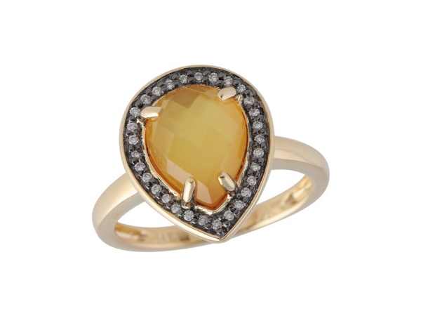 14KT Gold Ladies Diamond Ring - LDS RG 2.25 CITRINE 2.33 TGW