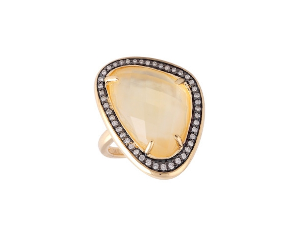 14KT Gold Ladies Diamond Ring - LDS DIA 10.75 CITRINE 10.95 TGW