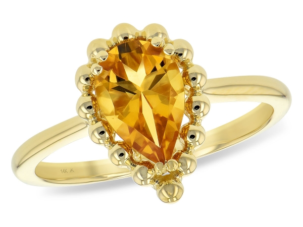 14KT Gold Ladies Diamond Ring - LDS RG 1.06 CITRINE TW