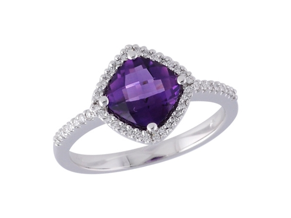 14KT Gold Ladies Diamond Ring - LDS RG 1.16 AMETHYST 1.32 TGW