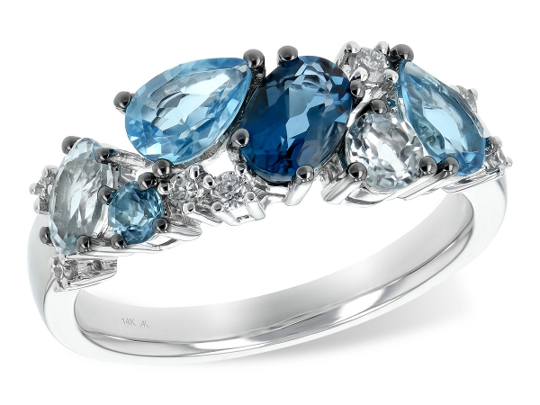 14KT Gold Ladies Diamond Ring - LDS RG 2.05 BLUE TOPAZ 2.16 TGW