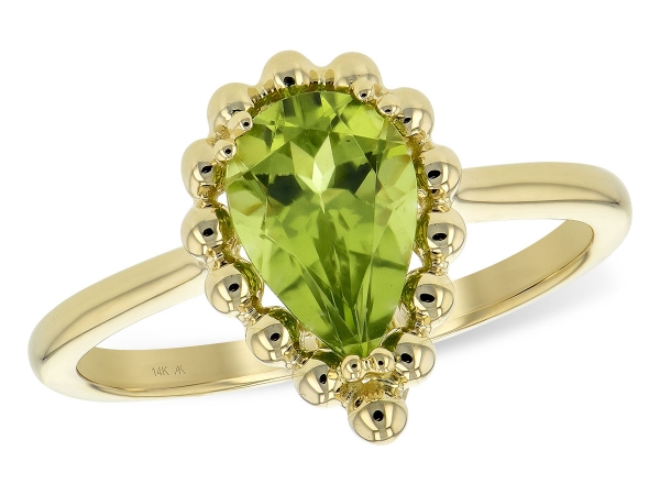 14KT Gold Ladies Diamond Ring - LDS RG 1.30 PERIDOT TW