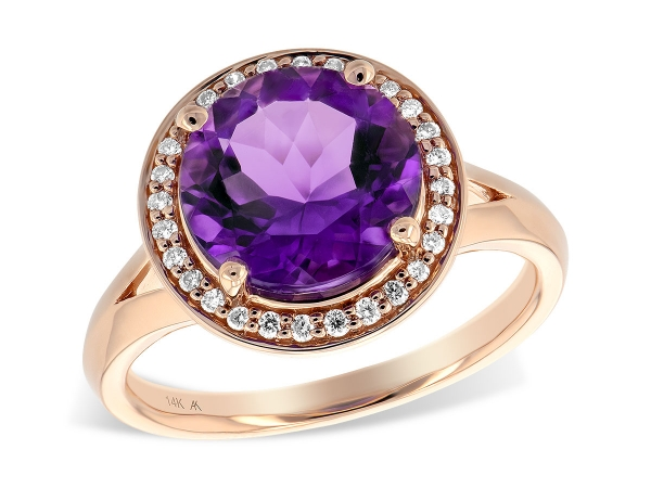 14KT Gold Ladies Diamond Ring - LDS RG 3.62 AMETHYST 3.77 TGW