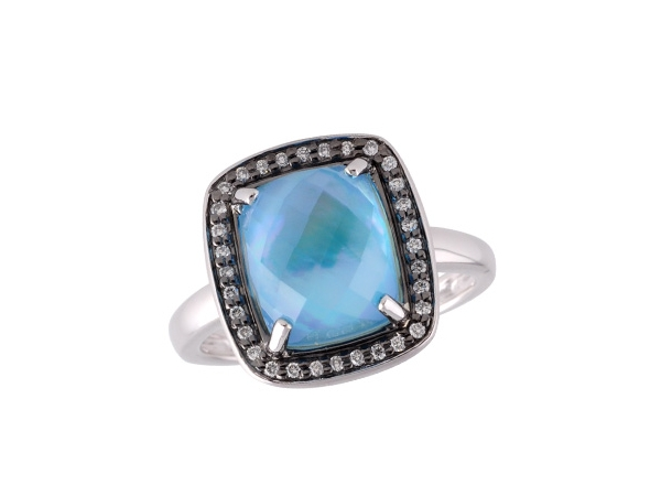 14KT Gold Ladies Diamond Ring - LDS RG 3.42 BLUE TOPAZ 3.54 TGW