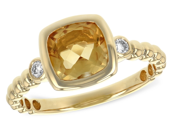 14KT Gold Ladies Diamond Ring - LDS RG 1.15 CITRINE 1.23 TGW