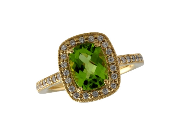 14KT Gold Ladies Diamond Ring - LDS DIA RG 1.45 PERIDOT 1.71 TGW