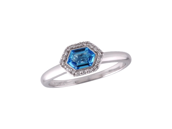 14KT Gold Ladies Diamond Ring - LDS RG .48 BLUE TOPAZ .55 TGW