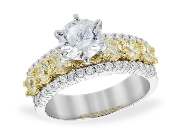 14KT Gold Semi-Mount Engagement Ring - LDS SEMI DIA RG 1.06 YELL DIA 1.50 TW - HOLDS 1.25 CTR