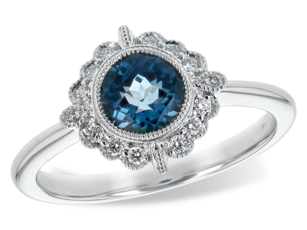 14KT Gold Ladies Diamond Ring - LDS RG .93 BLUE TOPAZ 1.05 TGW