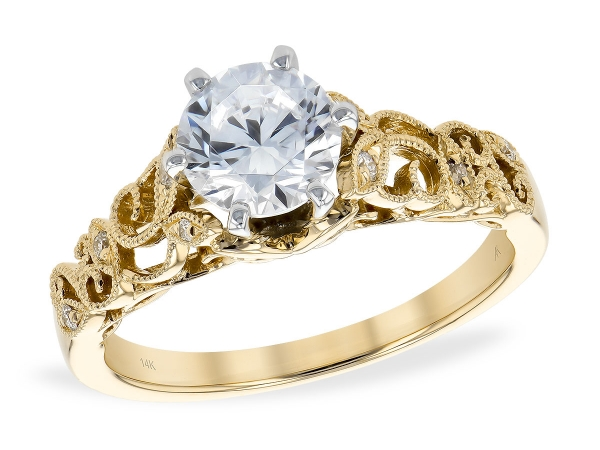 14KT Gold Semi-Mount Engagement Ring - LDS SEMI DIA RG .06 TW - HOLDS 1.00 CTR