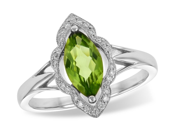 14KT Gold Ladies Diamond Ring - LDS RG .94 PERIDOT 1.05 TGW
