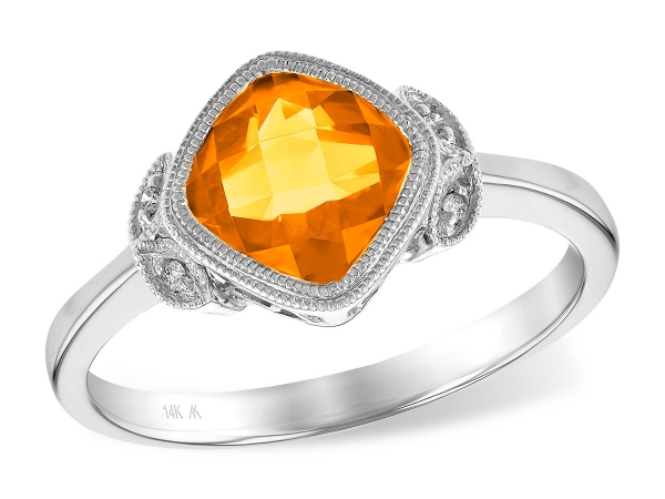14KT Gold Ladies Diamond Ring - LDS RG 1.13 CITRINE 1.15 TGW