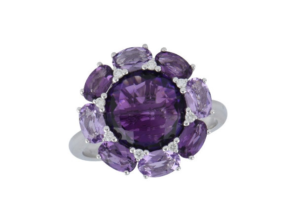 14KT Gold Ladies Diamond Ring - LDS RG 4.58 AMETHYST 4.64 TGW