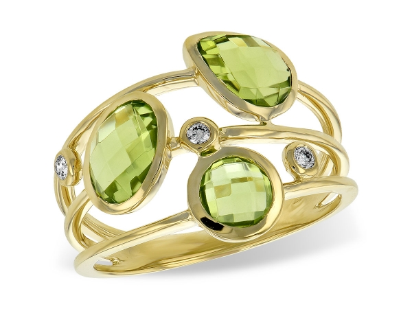 14KT Gold Ladies Diamond Ring - LDS RG 2.45 PERIDOT 2.50 TGW