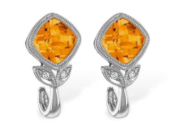 14KT Gold Earrings - EARR 1.58 CITRINE 1.60 TGW