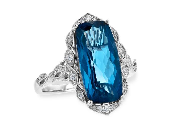 14KT Gold Ladies Diamond Ring - LDS RG 6.75 LONDON BLUE TOPAZ 6.90 TGW
