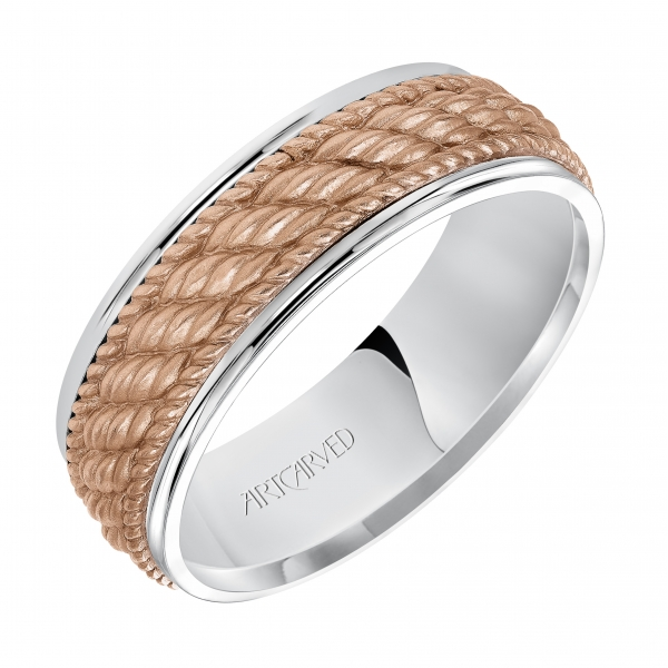 14K White/Rose Gold Wedding Band by ArtCarved