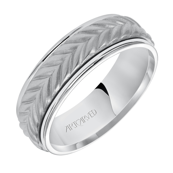 14k White Gold Wedding Band by ArtCarved