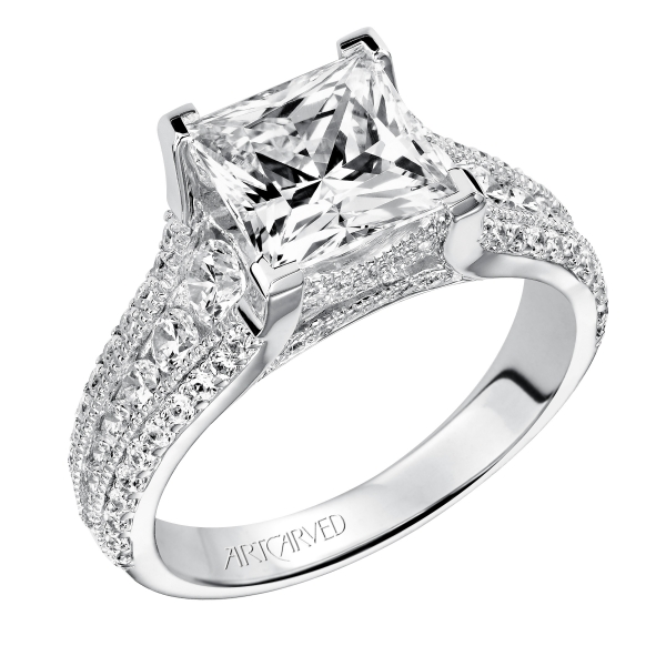 c48bf87d66b970 ArtCarved 14K White Gold Engagement Ring 31-V504HCW | Ken Walker Jewelers |  Gig Harbor, WA