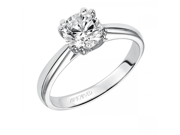 14K White Gold Engagement Ring - Solitare diamond engagement ring with round center stone and split double prong setting. (Semi-Mount only, center stone not included)