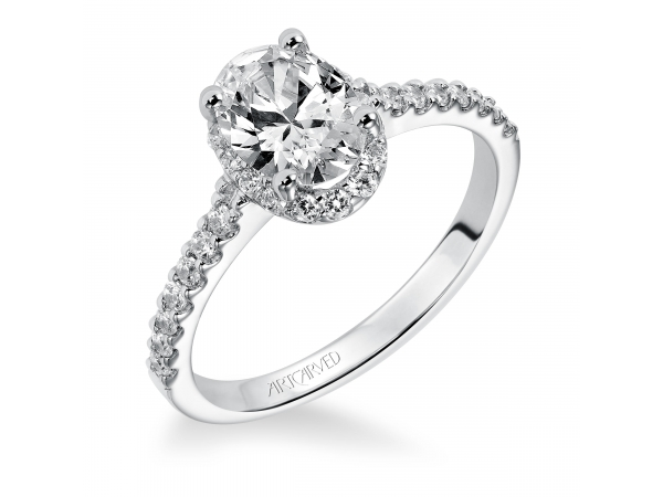 14K White Gold Engagement Ring - Diamond engagement ring with oval shaped center stone surrounded by round diamonds and a diamond enhanced band. (Semi-Mount only, center stone not included)