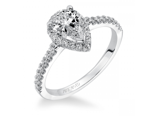 14K White Gold Engagement Ring - Classic Prong set  Halo Diamond Engagement Ring with Diamond Accented Shank. (Semi-Mount only, center stone not included)