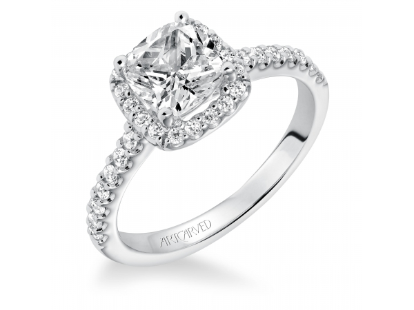 14K White Gold Engagement Ring - Layla, Classic prong set cushion halo diamond engagement ring with diamond accented shank. (Semi-Mount only, center stone not included)