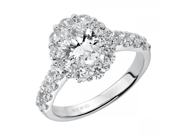 14K White Gold Engagement Ring - Diamond engagement ring with center stone surrounded by round diamonds and a diamond enhanced band. (Semi-Mount only, center stone not included)