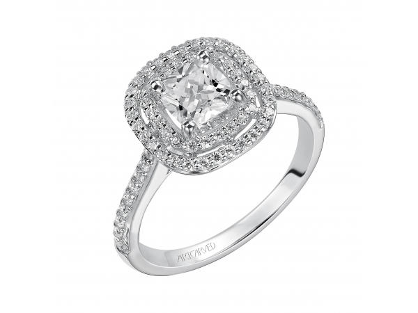 14K White Gold Engagement Ring - Cushion cut engagement ring with double halo diamond band. (Semi-Mount only, center stone not included)