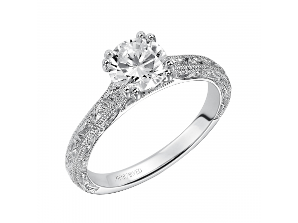14K White Gold Engagement Ring - Diamond engagement ring with high polished, engraved shank design with milgrain and double prong setting.. (Semi-Mount only, center stone not included)