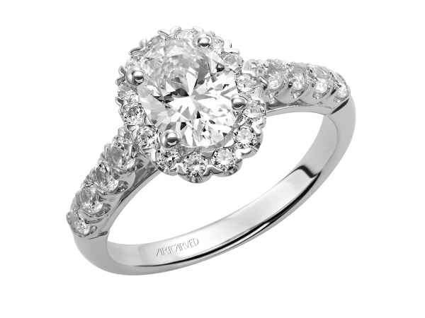14K White Gold Engagement Ring - Diamond engagement ring with diamond shared prong halo and straight shank setting.. (Semi-Mount only, center stone not included)