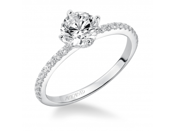 14K White Gold Engagement Ring - Prong Set Engagement Ring. (Semi-Mount only, center stone not included)