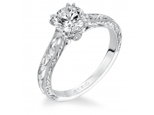14K White Gold Engagement Ring - Philomena, Vintage inspired solitaire double 4 prong set diamond engagement ring with hand engraved milgrain detail and surpise diamond under center stone. (Semi-Mount only, center stone not included)