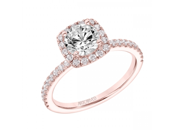 Diamond Engagement Ring - Diamond Engagement Ring with Cushion Shaped Halo and Diamond Shank. (Semi-Mount only, center stone not included)