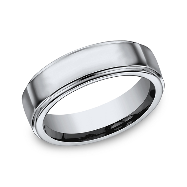 Titanium Comfort-Fit Design Wedding Band by Forge