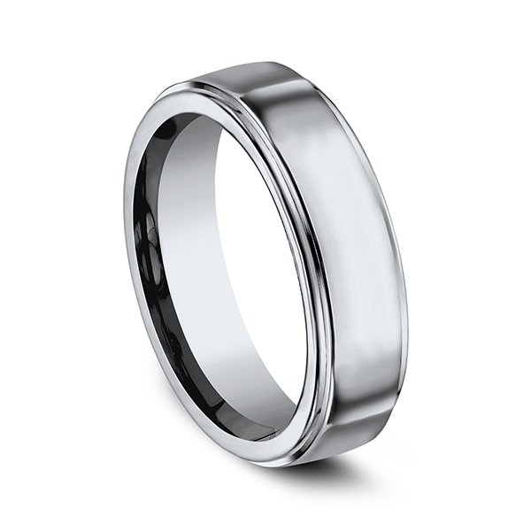 Men's Wedding Bands - Titanium Comfort-Fit Design Wedding Band - image #2