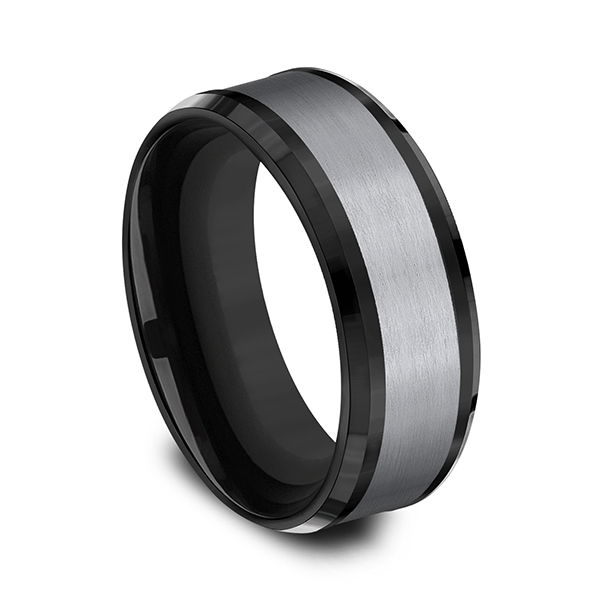 Grey Tantalum and Black Titanium two-tone Comfort-fit wedding band Image 2 Jones Jeweler Celina, OH