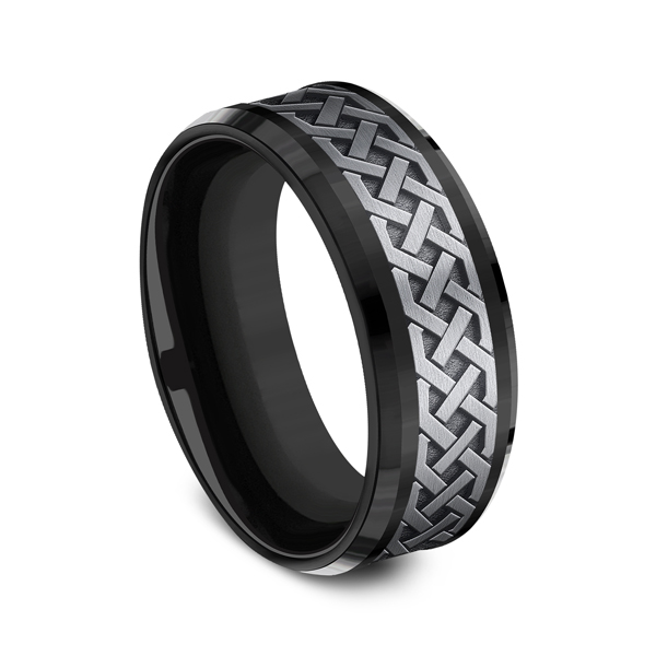 Grey Tantalum and Black Titanium two-tone Comfort-fit wedding band Image 2 Confer's Jewelers Bellefonte, PA