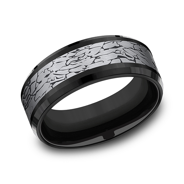 Tantalum and Black Titanium Comfort-fit Design Ring by Tantalum