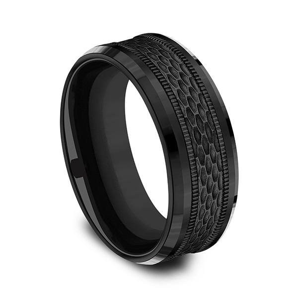 Black Titanium Comfort-fit Design Wedding Band Image 2 Cowardin's Jewelers Richmond, VA