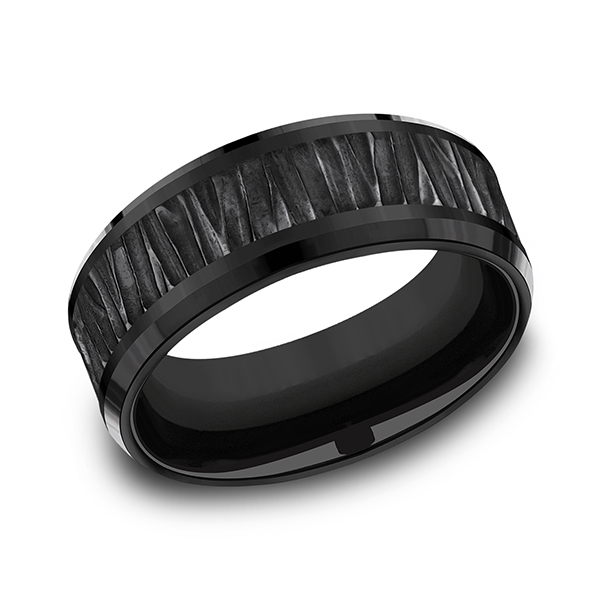 Black Titanium Comfort-fit Design Wedding Band Gala Jewelers Inc. White Oak, PA