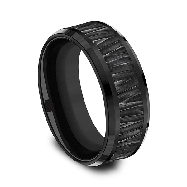 Black Titanium Comfort-fit Design Wedding Band Image 2 Gala Jewelers Inc. White Oak, PA