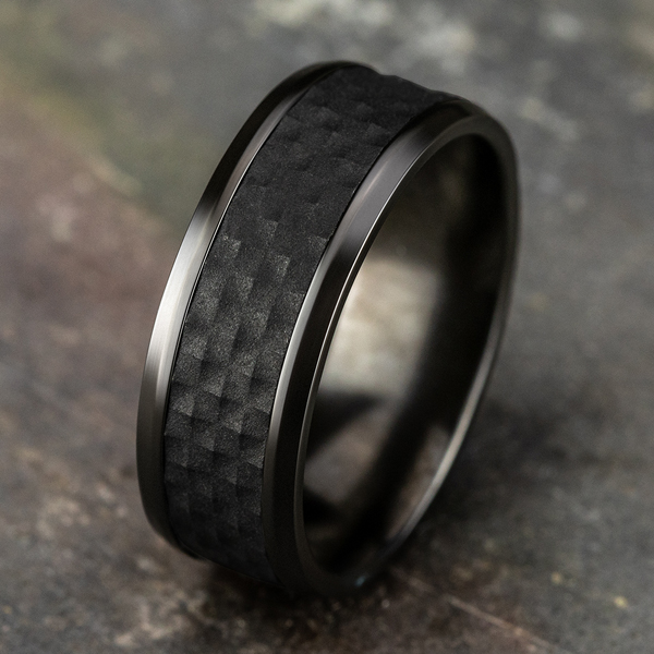 Black Titanium Comfort-fit Design Wedding Band Image 4 Jones Jeweler Celina, OH