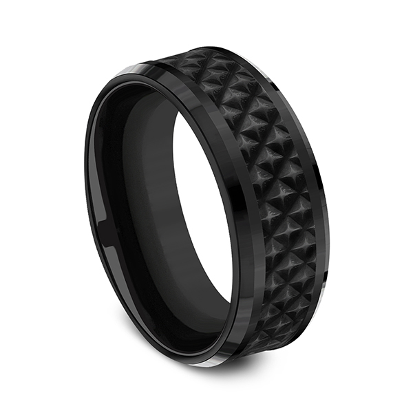 Black Titanium Comfort-fit Design Wedding Band Image 2 Jones Jeweler Celina, OH